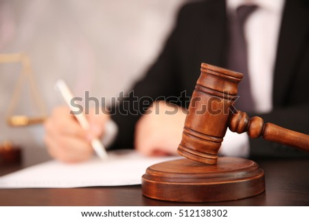 Court hammer on table, closeup Foto stock ©