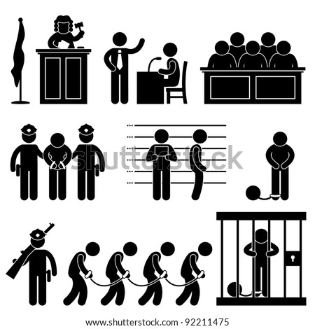 Court Judge Law Jail Prison Lawyer Jury Criminal Icon Symbol Sign Pictogram
