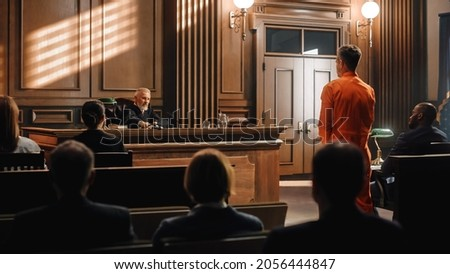 Court of Law and Justice Trial: Imparcial Honorable Judge Pronouncing Sentence, Striking Gavel. Shot of Male Lawbreaker in Orange Robe Sentenced to Serve Time in Prison. Hearing Adjourned, Photo stock ©