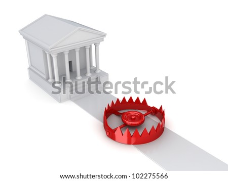 Courthouse and a trap.Isolated on white background.3d rendered.