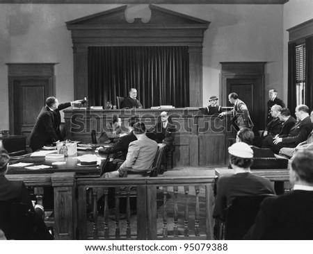 Courtroom scene - stock photo