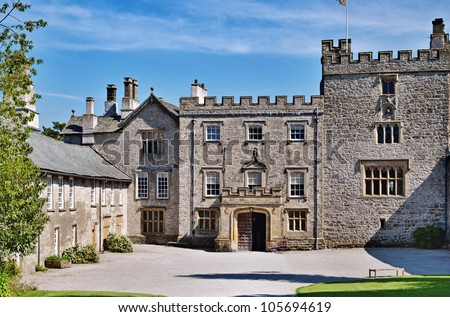 Courtyard and entrance to Sizergh Castle, Cumbria, England, a castle and stately home dating from medieval times