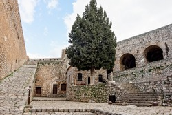 Courtyard and stone staircase inside the Palamidi Castle in Nafplio, Greece, Europe