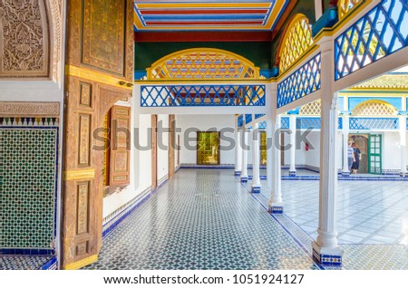 Courtyard at El Bahia Palace, Marrakech, Morocco