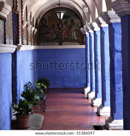 Courtyard in Arequipa Peru - stock photo