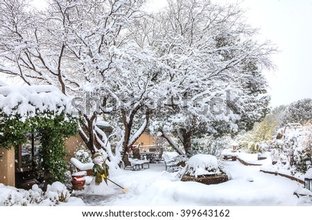 Courtyard in Sedona, Arizona in winter