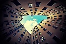 courtyard in St. Petersburg, fisheye lens
