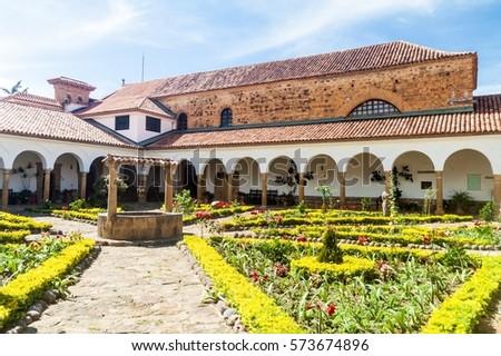 Courtyard of a convent Santo Ecce Homo near Villa de Leyva, Colombia