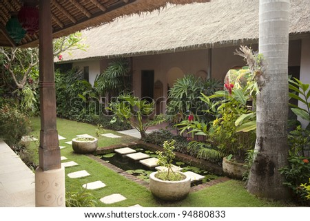 Courtyard of a holiday villa in an exotic location.
