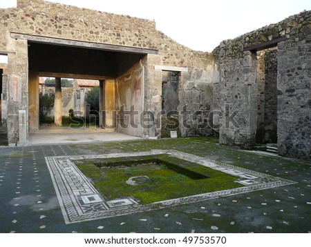 Courtyard of a ruined villa at the ancient Roman city of Pompeii, which was destroyed and buried by ash during the eruption of Mount Vesuvius in 79 AD