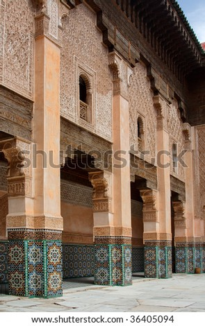 Courtyard of Ali Ben Youssef Madrasa, Marrakech, Morocco