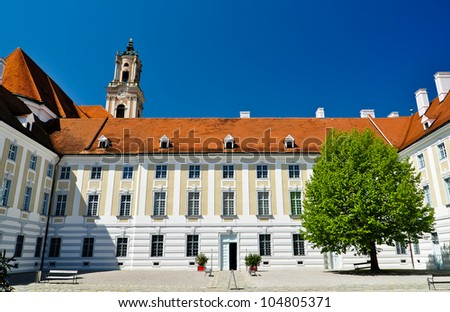 courtyard of baroque herzogenburg monastery in austria on a summer day