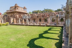 Courtyard of Jami Masjid mosque in Champaner historical city, Gujarat state, India