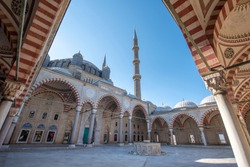 Courtyard of Selimiye Mosque in Edirne, Turkey. The mosque is in UNESCO World Heritage Site. The mosque was commissioned by Sultan Selim II, and was built by architect Mimar Sinan