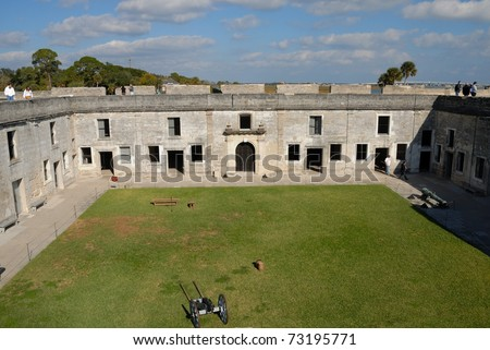 courtyard of the castle of san marcos at historic st. augustine florida