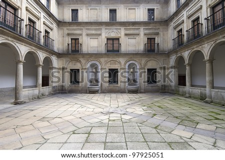 Courtyard of the fountainheads; Royal Monastery of El Escorial; San Lorenzo de El Escorial; Madrid; Spain