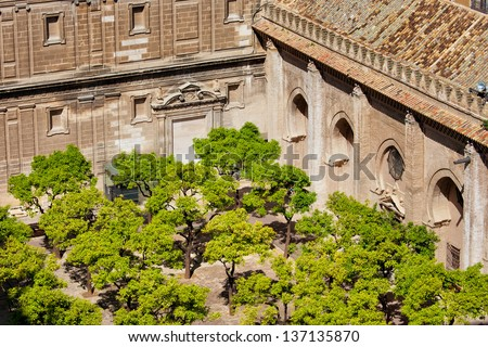 Courtyard of the Orange Trees (Spanish: Patio de los Naranjos) of Seville Cathedral, Spain.