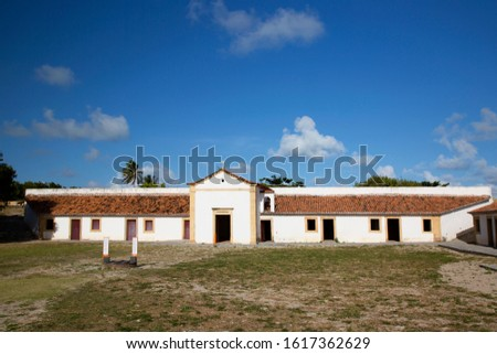 courtyard or parade ground central part of Dutch historical 17th century fort near the shoreline on the beach