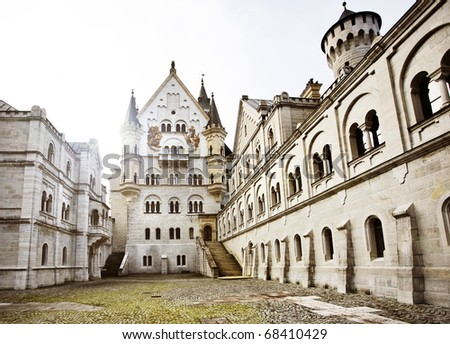 Courtyard view of Neuschwanstein Castle in Bavaria, Germany