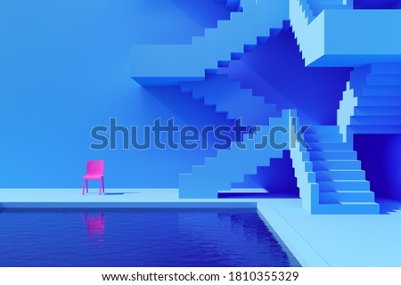 Courtyard with pool and staircase, bright colours, conceptual art, 3D illustration, rendering. Сток-фото ©