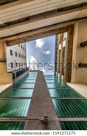 courtyyard.  perspective picture. building perspective