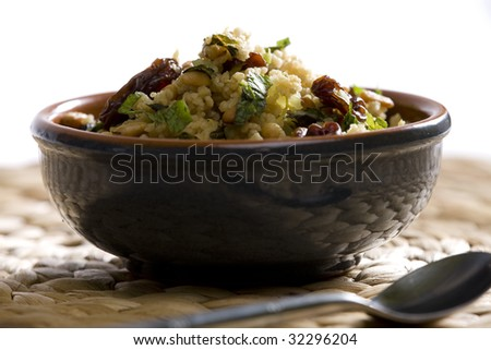 couscous salad with pine nuts - stock photo