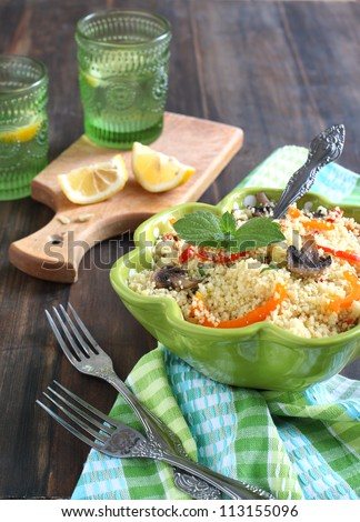Couscous with mushrooms, sweet peppers and mint