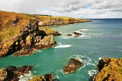 Cove Bay cliffs and the North Sea, Aberdeen, Scotland