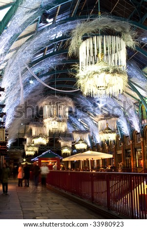 covent garden in christmas with pendant light decoration