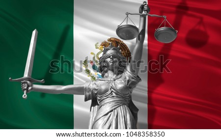 Cover about Law. Statue of god of justice Themis with Flag of Mexico background. Original Statue of Justice. Femida, with scale, symbol of justice with Mexico flag, 3d rendering. Foto stock ©