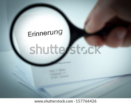 Cover letter with the german word for Reminder