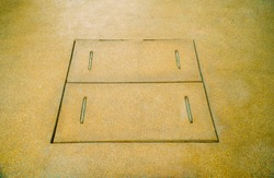 Cover manholes, drainage Surface sand, Manhole concrete cover install outdoor for Drainage system.