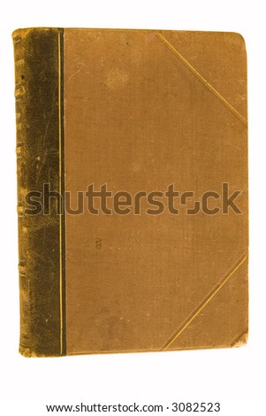 cover of very old antique book isolated on white