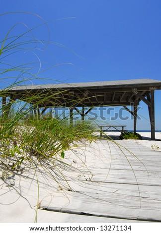 Covered beach pavilion on pretty beach