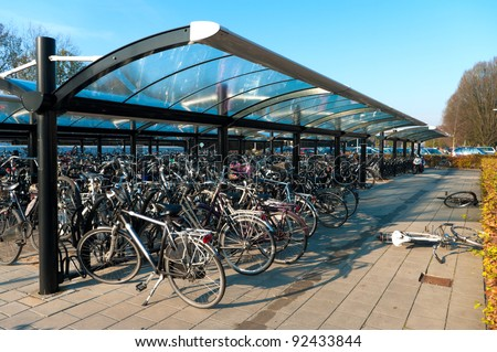 covered bicycle parking at a train station in the Netherlands