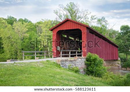 Covered bridge, Cataract falls Indiana #588123611