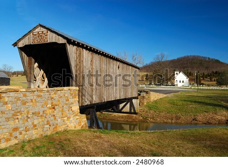 Covered Bridge & Country Church in Kentucky