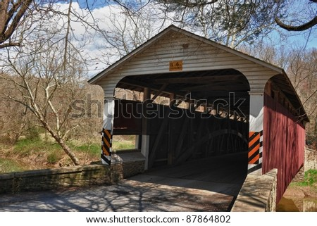 covered bridge in Amish country in eastern Pennsylvania