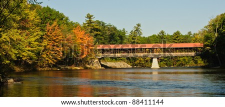Covered Bridge in fall foliage, New Hampshire