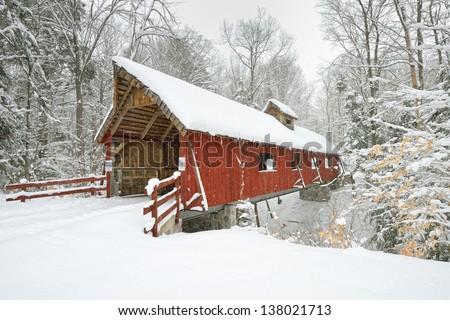 Covered Bridge in Northern Michigan. Fresh Winter Snow