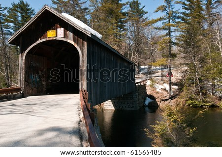 covered bridge in snowy New England