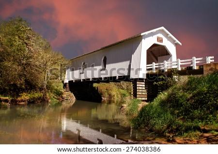 Covered Bridge Over Crabtree Creek, Linn County Oregon