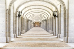 Covered corridor in Valley of the Fallen (Valle de los Caidos), Madrid, Spain.