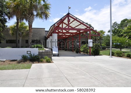 Covered entrance for a modern school building in South Carolina.