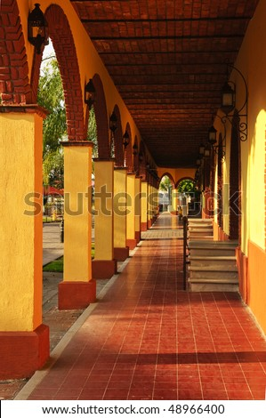 Covered sidewalk in Tlaquepaque shopping district in Guadalajara, Jalisco, Mexico