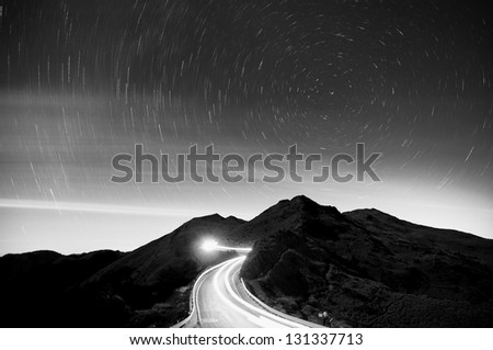 Covered the high mountains of the Star in Taiwan - stock photo