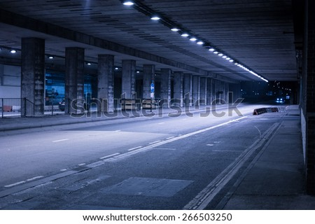 Covered Urban Street Illuminated in Cool Blue Light at Night