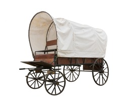 Covered wagon with white top isolate on white background