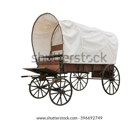 Photo of  Covered wagon with white top isolate on white background