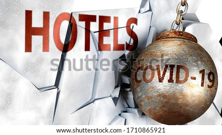 Covid and hotels,  symbolized by the coronavirus virus destroying word hotels to picture that the virus affects hotels and leads to recession and crisis, 3d illustration